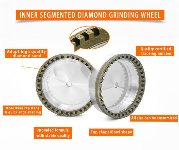 Inner Segmented Diamond Abrasive Wheels For Glass Straight Line Edging Machine