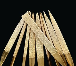 China 3 * 140 mm Titanium Coated Diamond Micro Files Excellent Surface Finish For Soft Metal Wood supplier