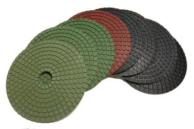 China Round Shape Diamond Polishing Pads 4500 RPM Neon Green 5 Inch Hook And Loop Backing factory